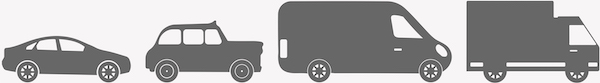 Grey silhouettes of a small car, taxi, small van and large van