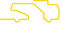 Specialist Vehicle Rental Logo - yellow line drawing of three accessible vehicles. Links to home page